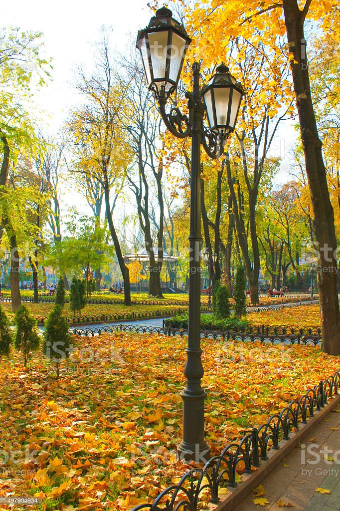 Autumn city park in the city of Odessa. stock photo