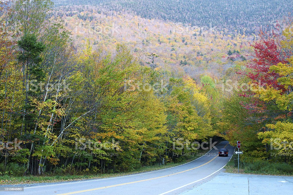 Autumn color change in Stowe, Vermont stock photo