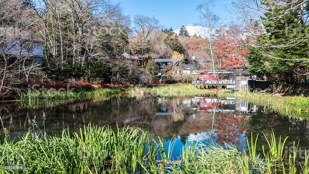 Autumn color of pond, Karuizawa, Nagano, Japan stock photo