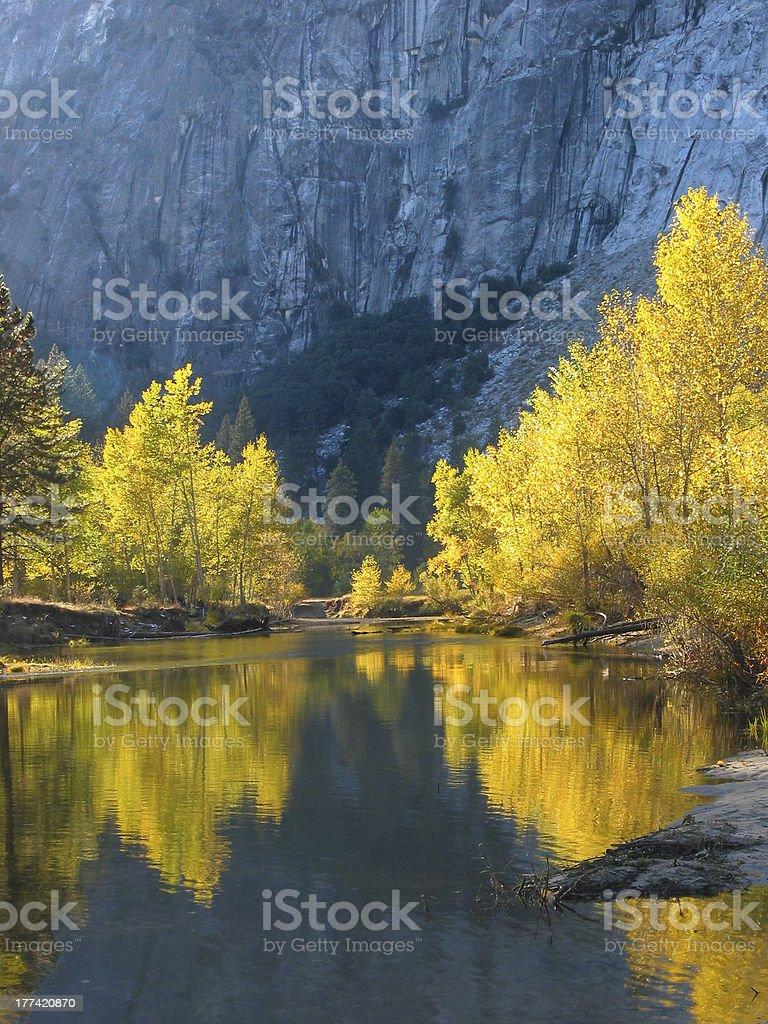 Autumn color of Yosemite stock photo