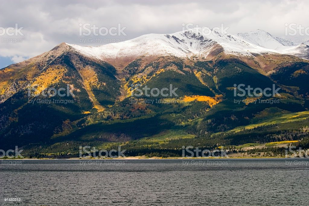 Autumn Color on Twin Lakes and  Collegiate Peaks Colorado stock photo