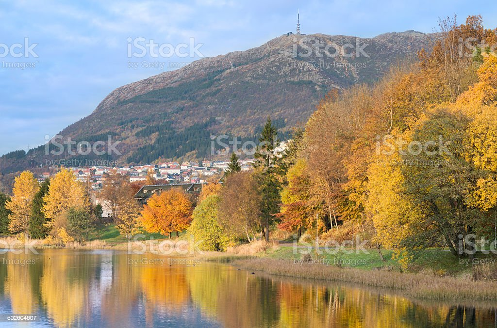 Autumn colored public park and lake in Bergen, Norway stock photo