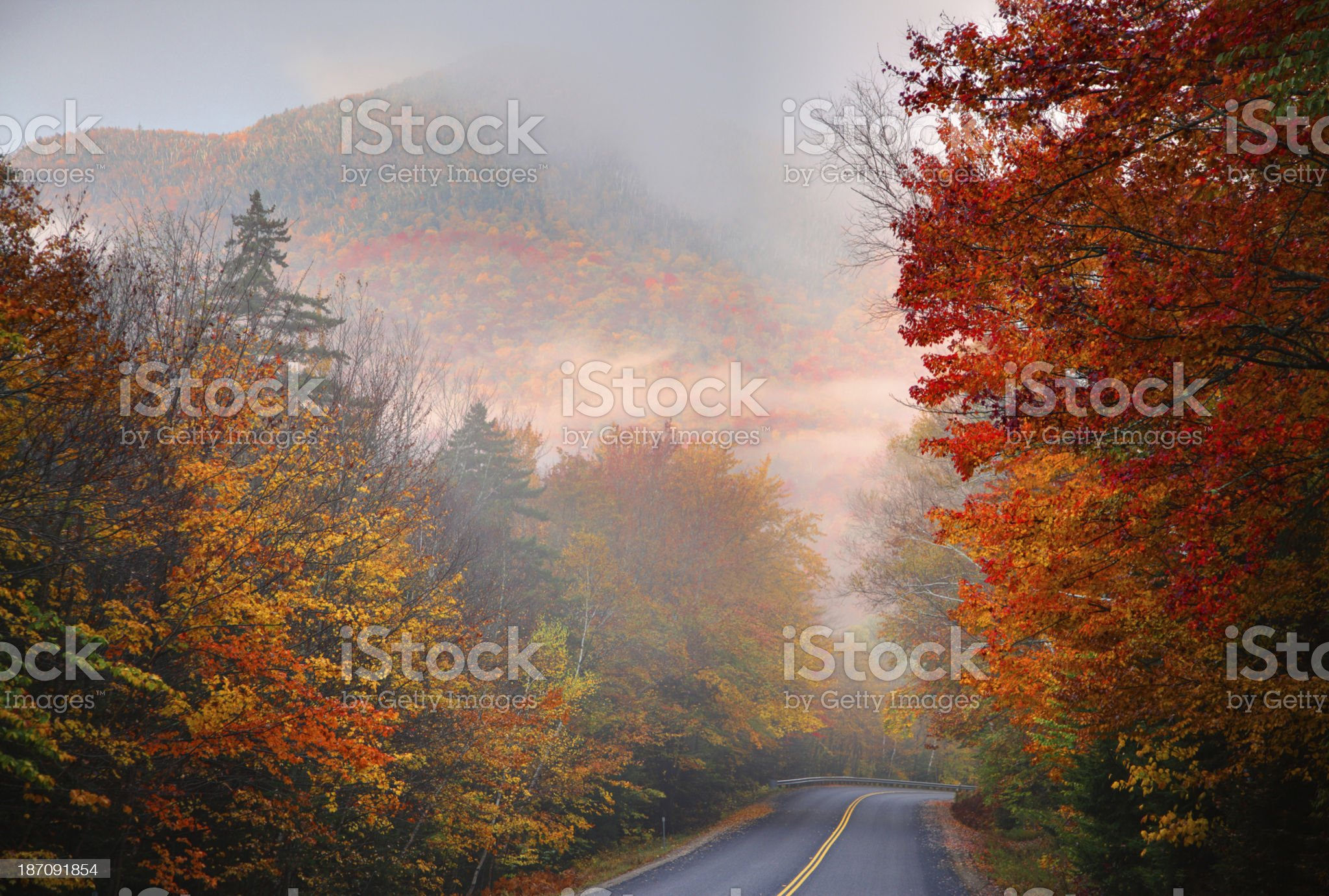 Autumn colors along the Kancamagus Highway in New Hampshire royalty-free stock photo