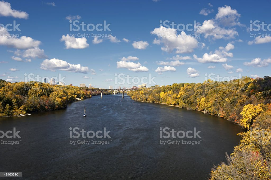 Autumn colors along the Mississippi River, Minneapolis stock photo