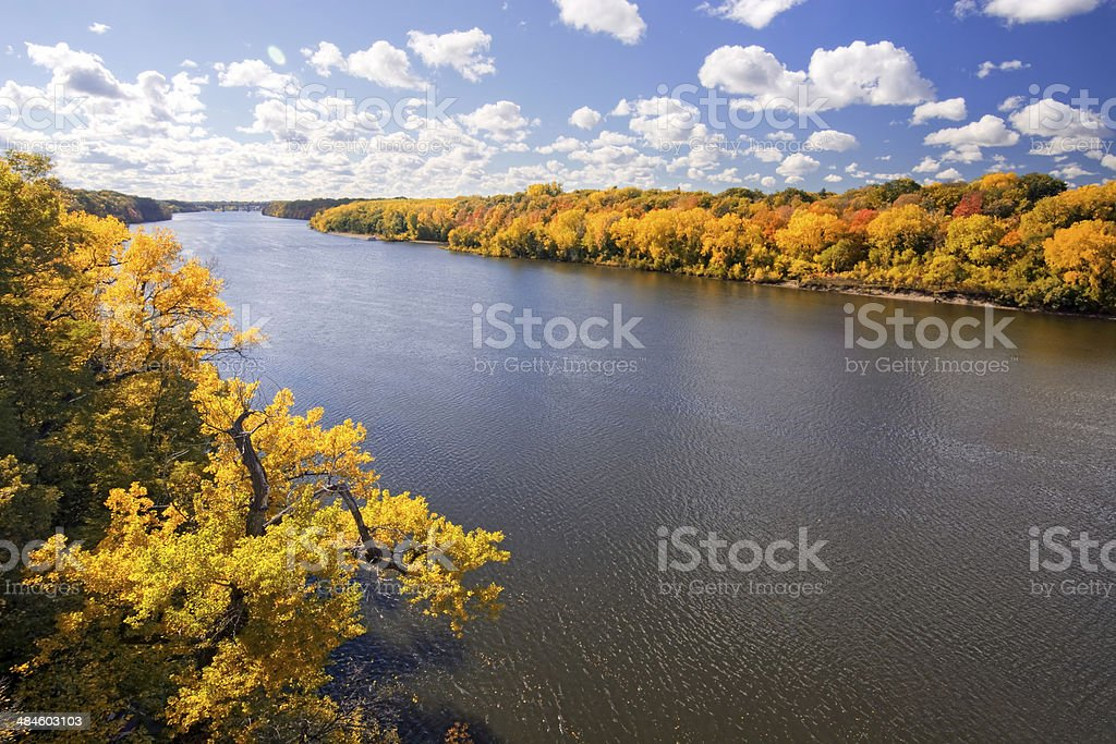 Autumn colors along the Mississippi River, Minnesota stock photo