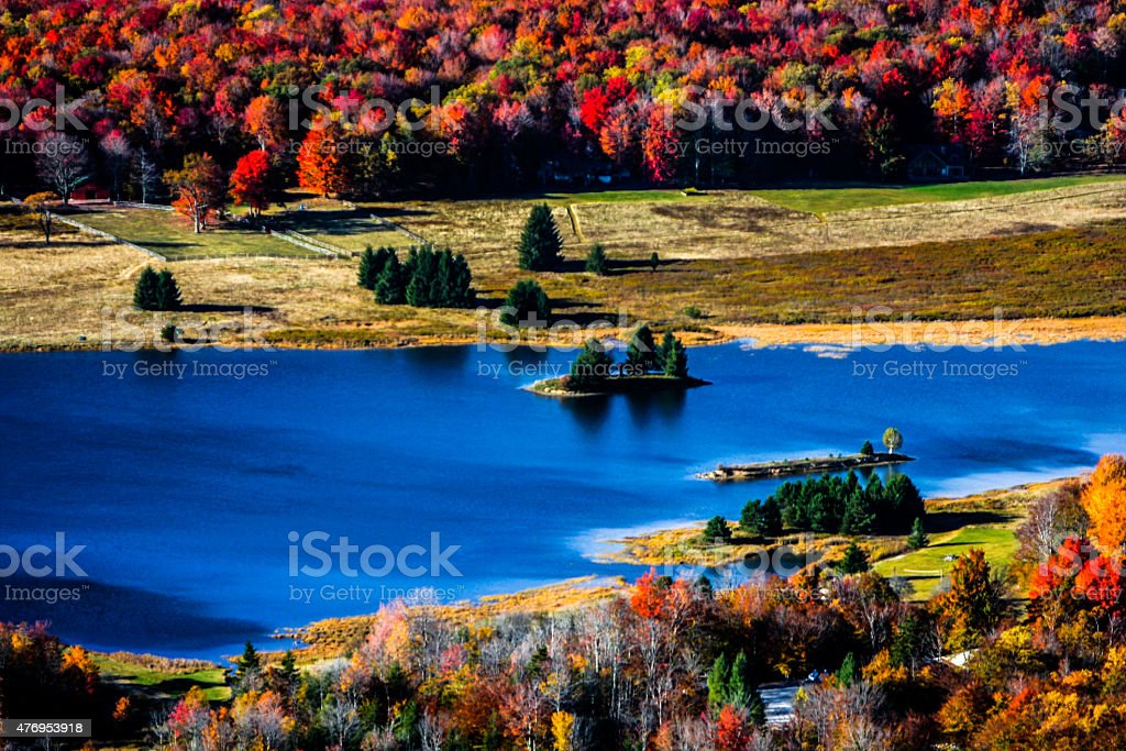 Autumn Colors and a lake at Canaan Valley, West Virginia stock photo