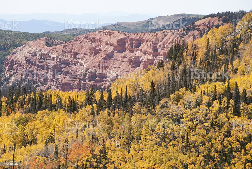 Autumn Colors and Red Rocks Cedar Breaks National Monument Utah stock photo