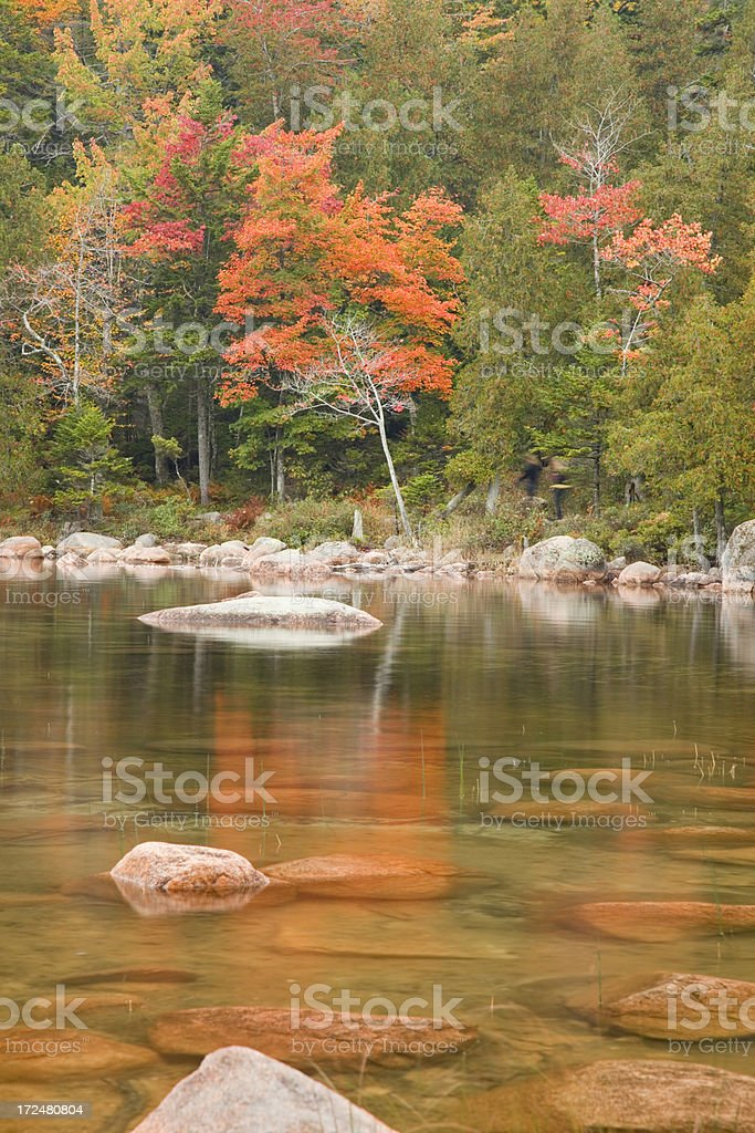 Autumn colors at Jordan Pond, Acadia National Park, Maine, USA stock photo