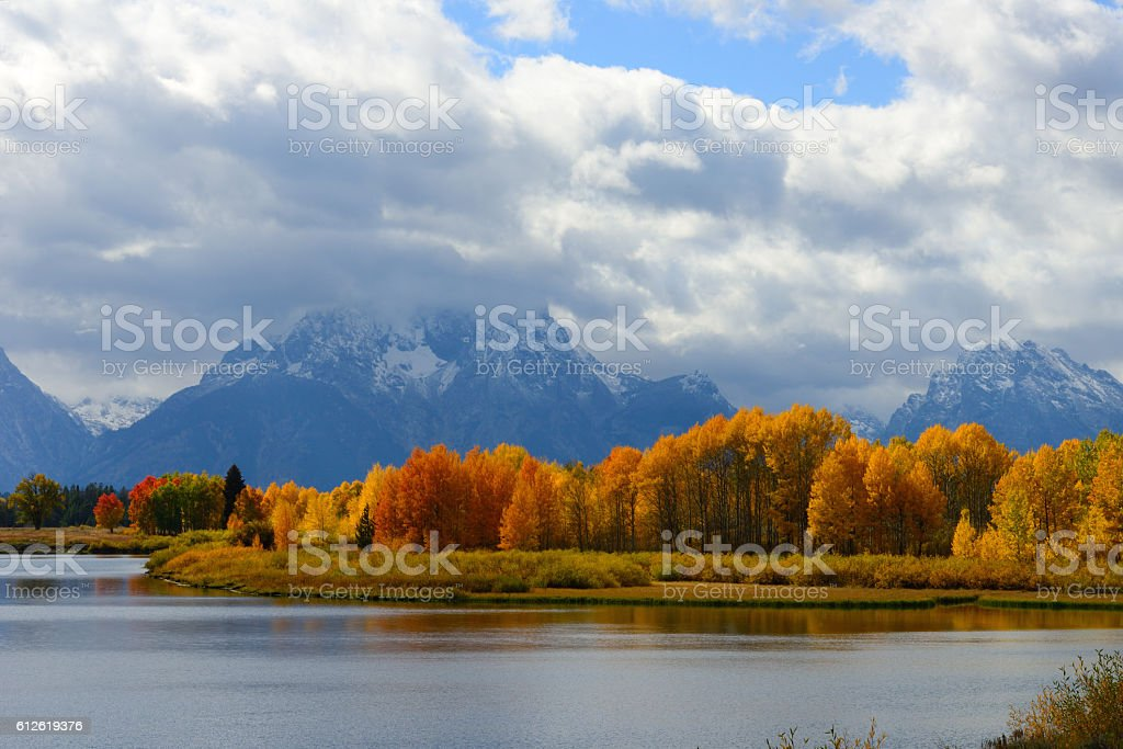 Autumn Colors at Oxbow Bend Wyoming USA 2 stock photo