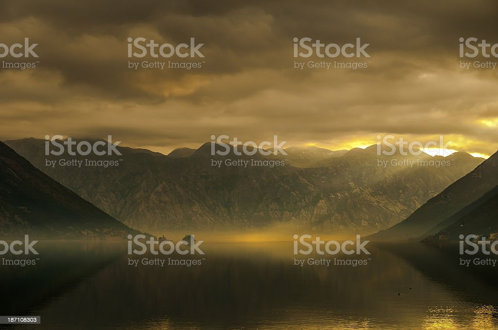 Autumn colors in Bay of Kotor stock photo