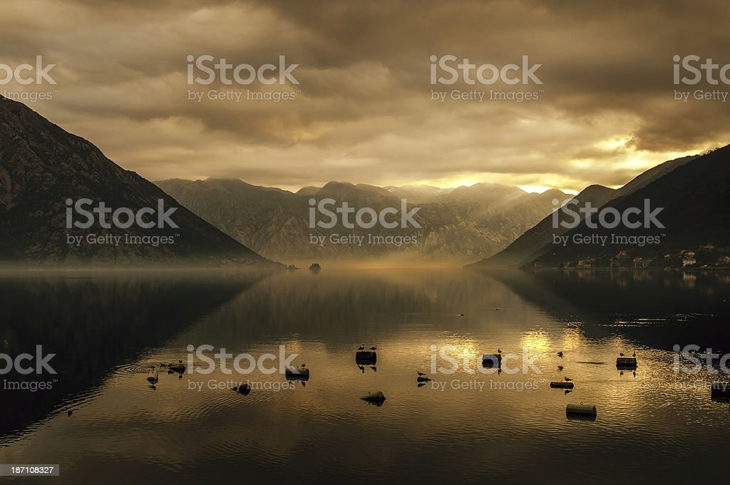 Autumn colors in Bay of Kotor royalty-free stock photo