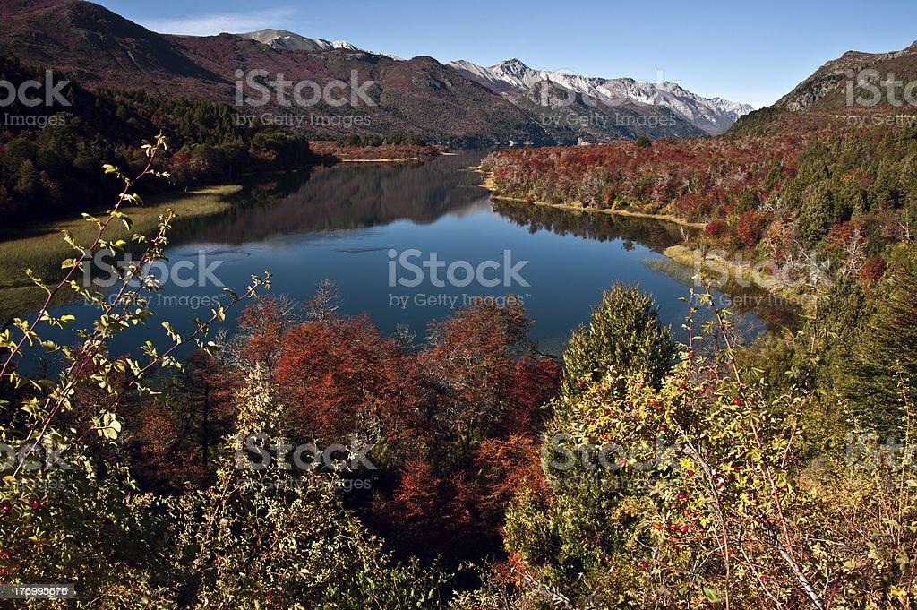 Autumn Colors in Lake Guillelmo, Bariloche, Patagonia, Argentina stock photo