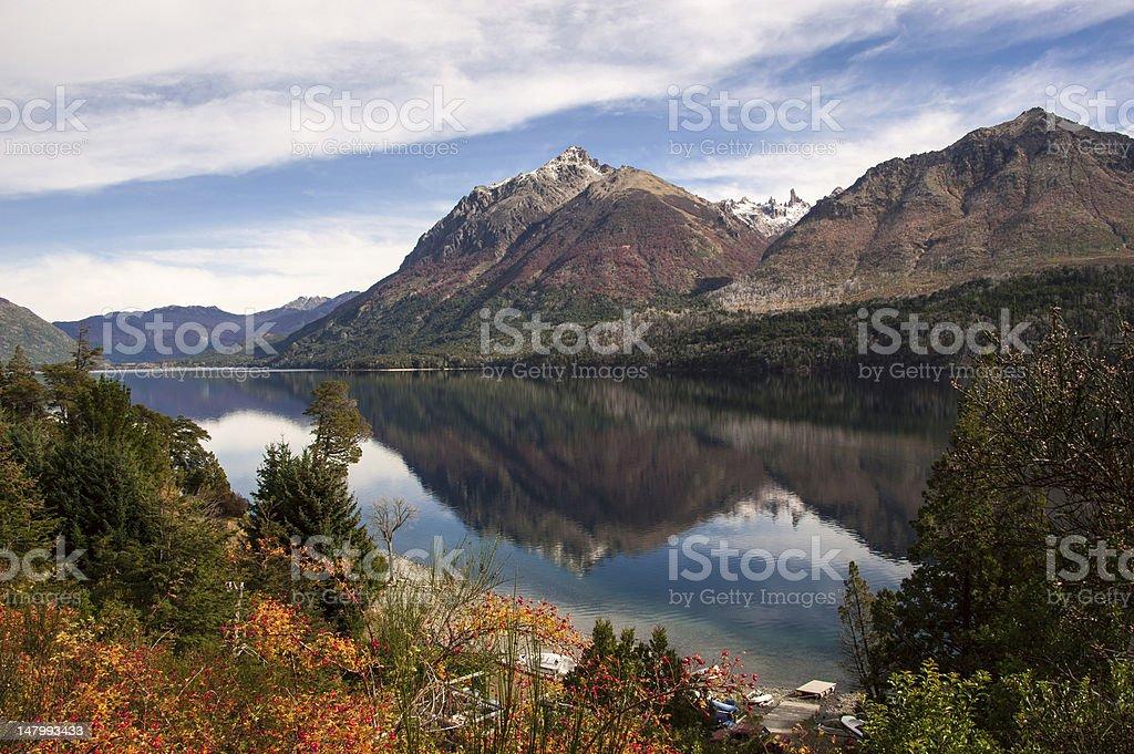 Autumn Colors in Lake Gutierrez, near Bariloche, Patagonia, Argentina royalty-free stock photo
