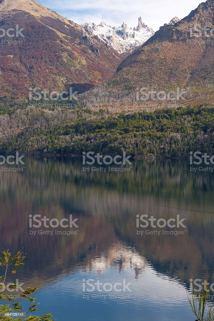 Autumn Colors in Lake Gutierrez, near Bariloche, Patagonia, Argentina stock photo