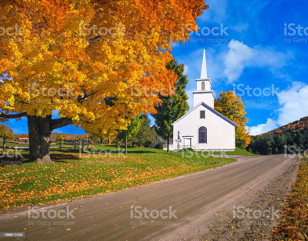 Autumn colors in the hillsides of the Green Mountains, VT stock photo