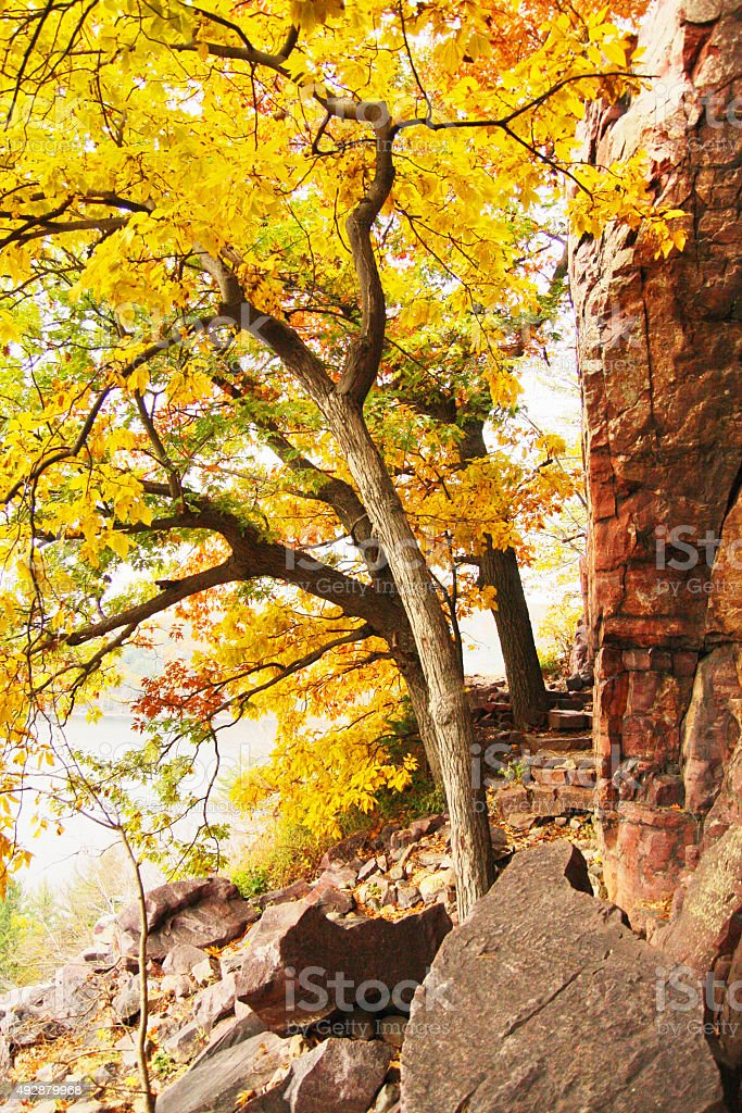 Autumn colors in the mountains stock photo