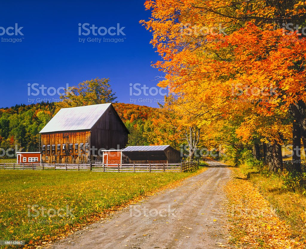 Autumn colors with farm in the Green Mountains, VT stock photo