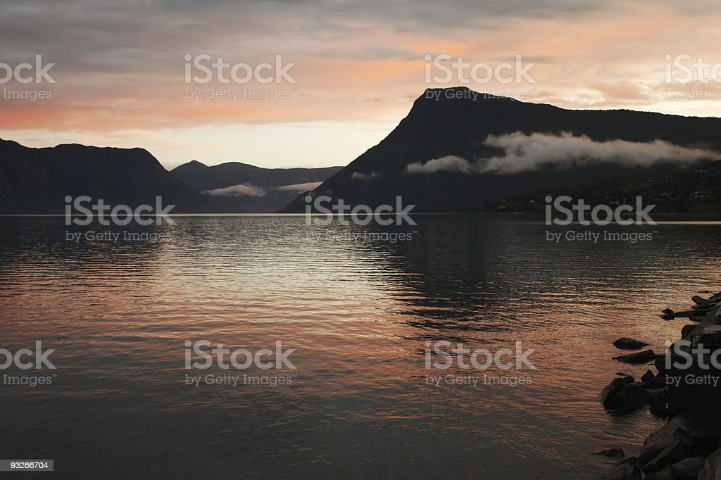 Autumn colourful sunset in norwegian fjords stock photo