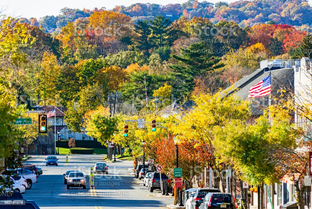 Autumn colours along high street in picturesque New Jersey borough stock photo
