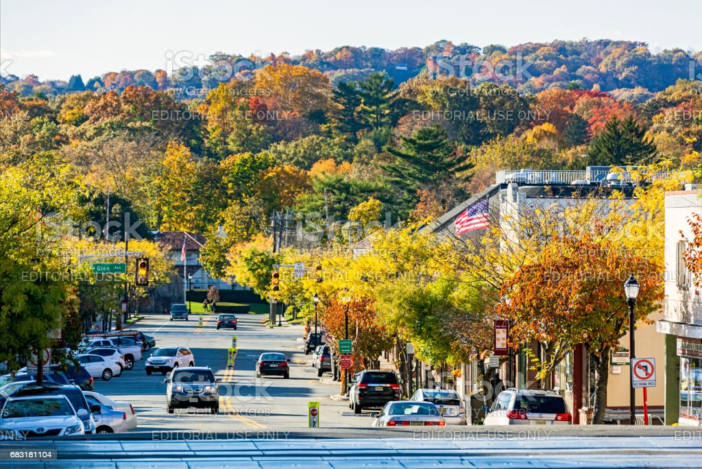 Autumn colours along high street in picturesque New Jersey town stock photo