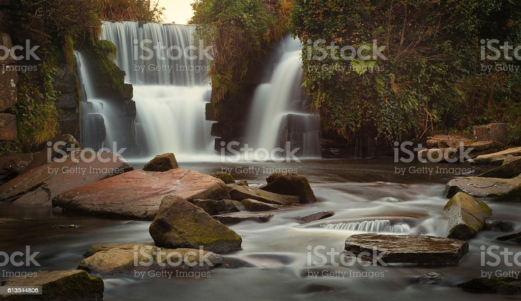 Autumn colours at Penllergare waterfalls stock photo