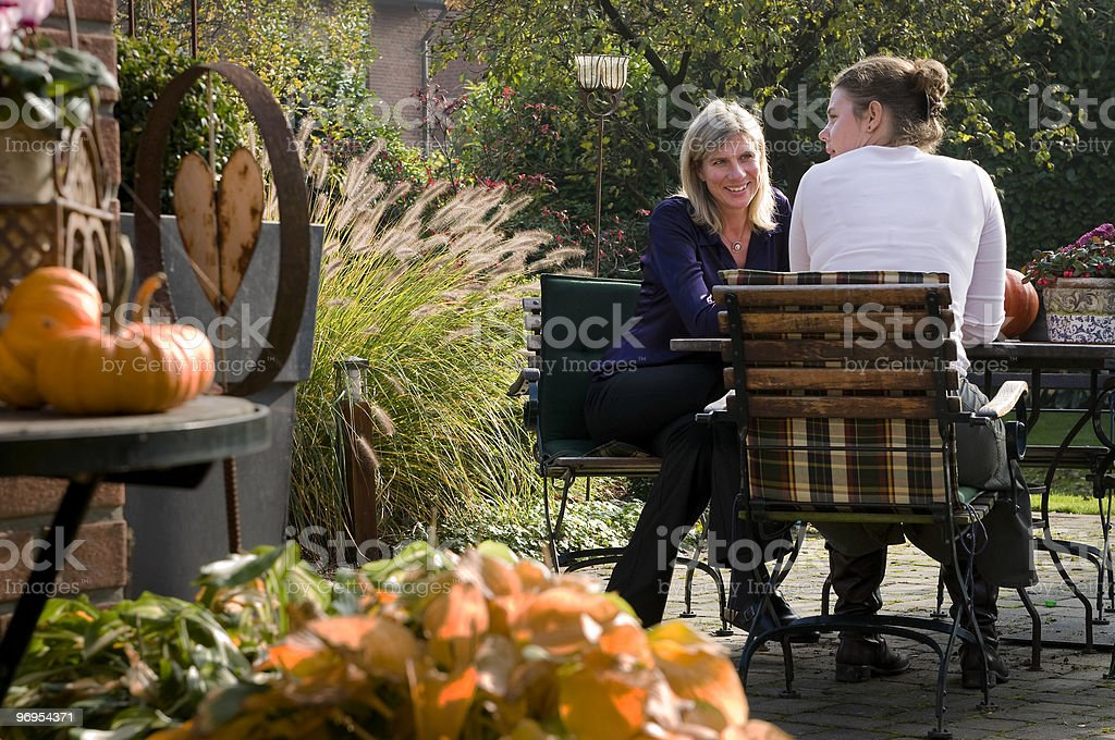 autumn conversation stock photo