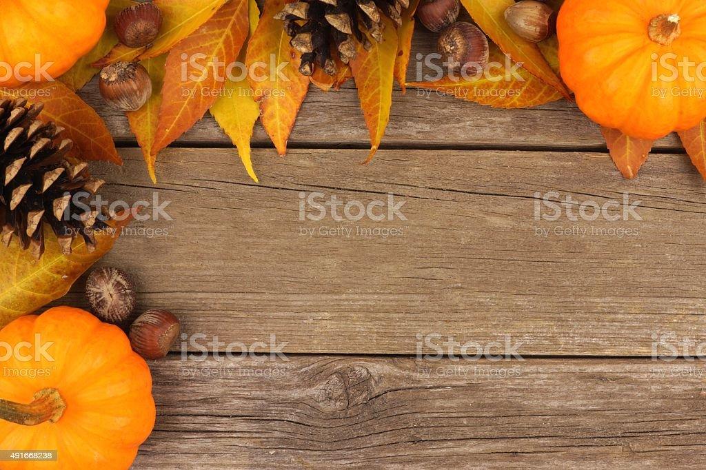 Autumn corner border against rustic wood stock photo