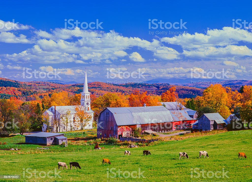 Autumn country side with village in Vermont stock photo