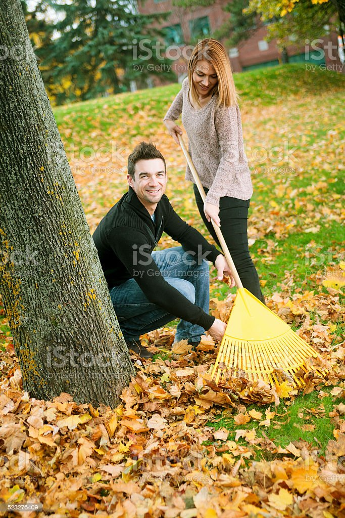 Autumn couple stock photo