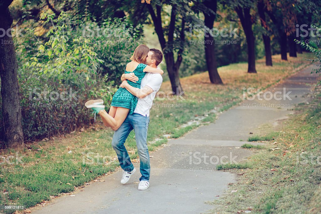 Autumn couple stock photo