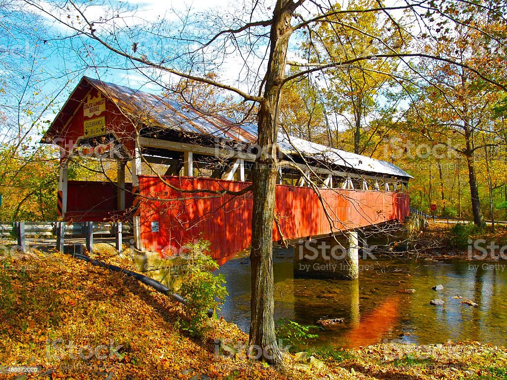 Autumn Covered Bridge in Somerset County Pennsylvania stock photo