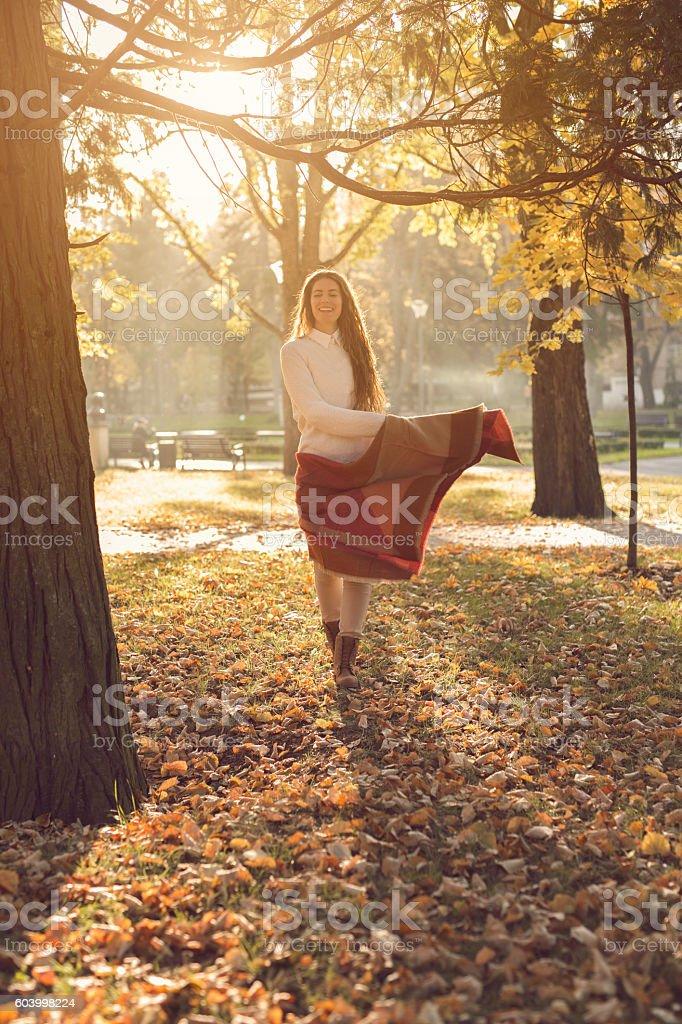 Autumn dancer stock photo