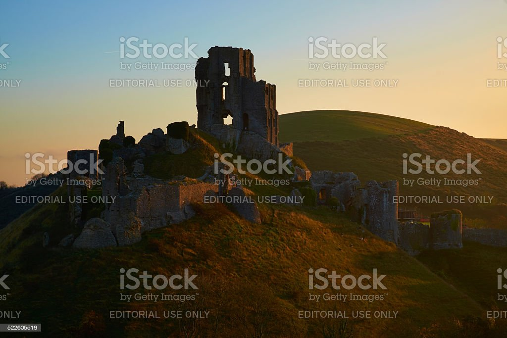 Autumn Dawn At Corfe Castle stock photo