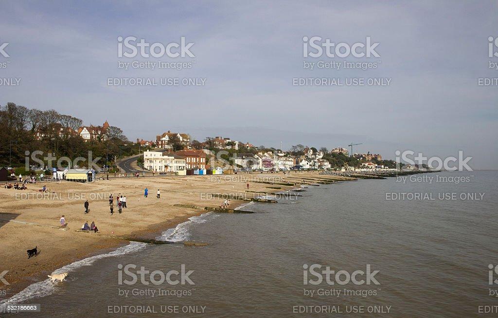 Autumn day on Felixstowe seafront, Suffolk stock photo