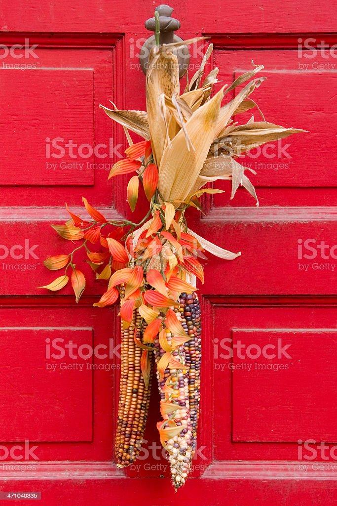 Autumn Decorated Door royalty-free stock photo