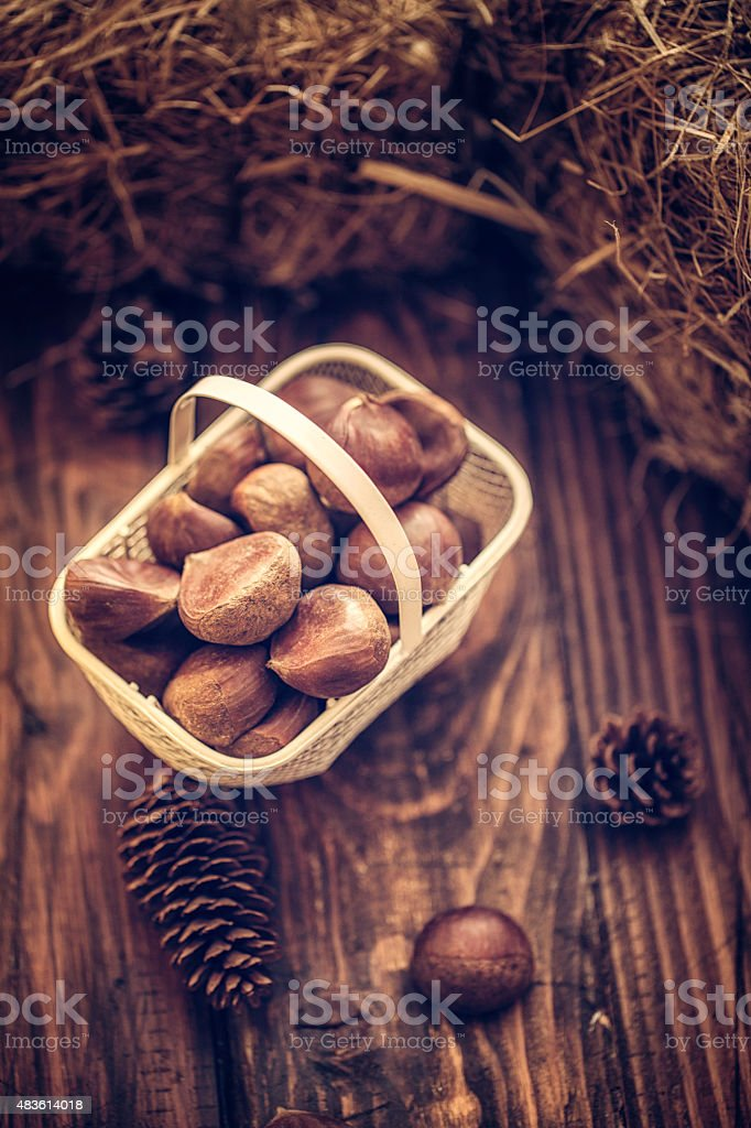 Autumn Decoration Background with Chestnuts stock photo