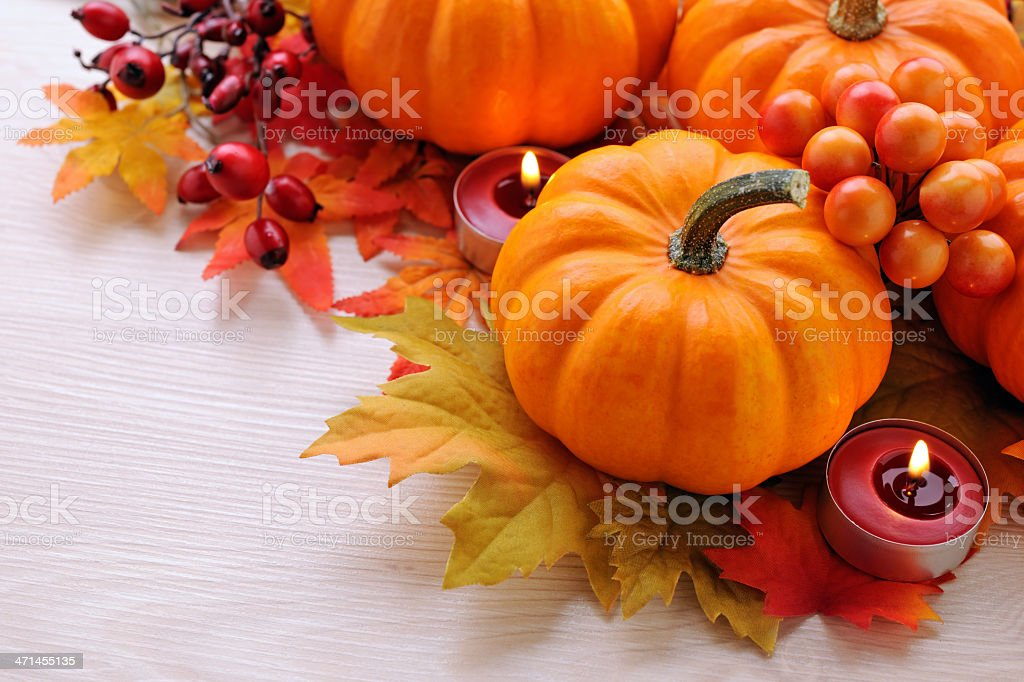 Autumn decoration on wood with copy space royalty-free stock photo