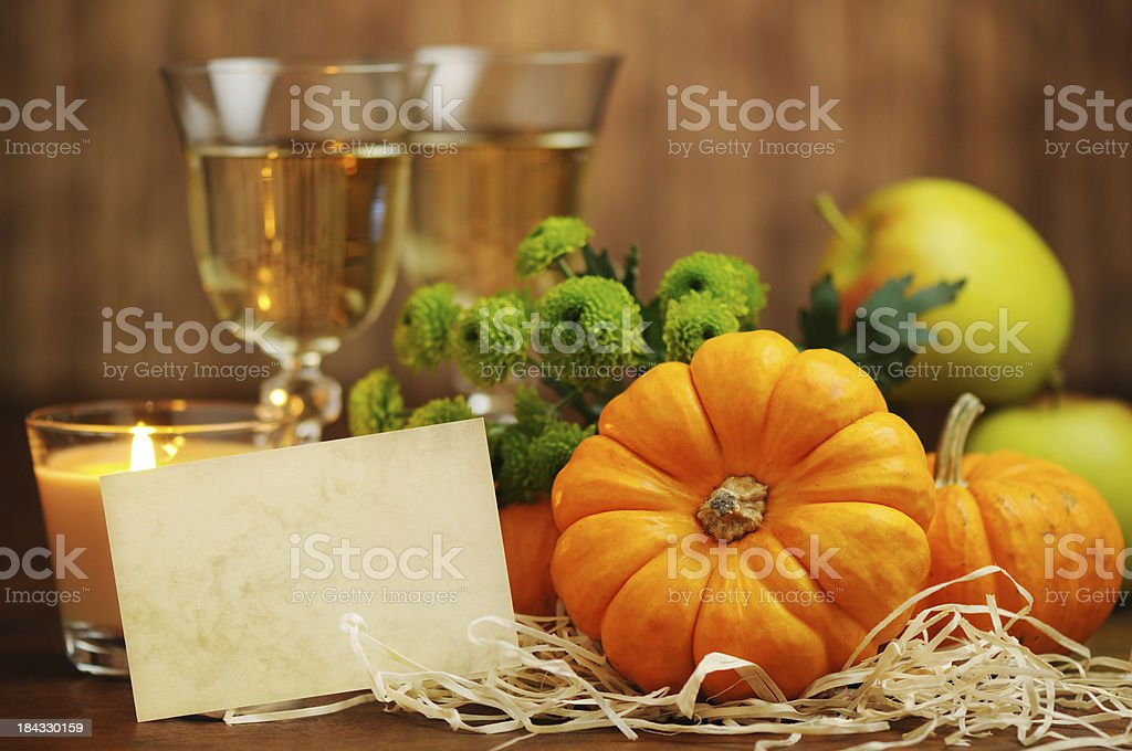 Autumn decoration with an empty card royalty-free stock photo