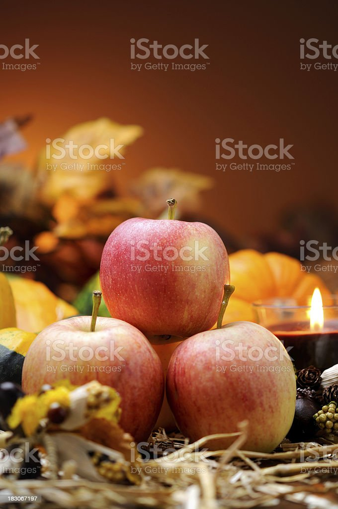 Autumn decoration with apples royalty-free stock photo