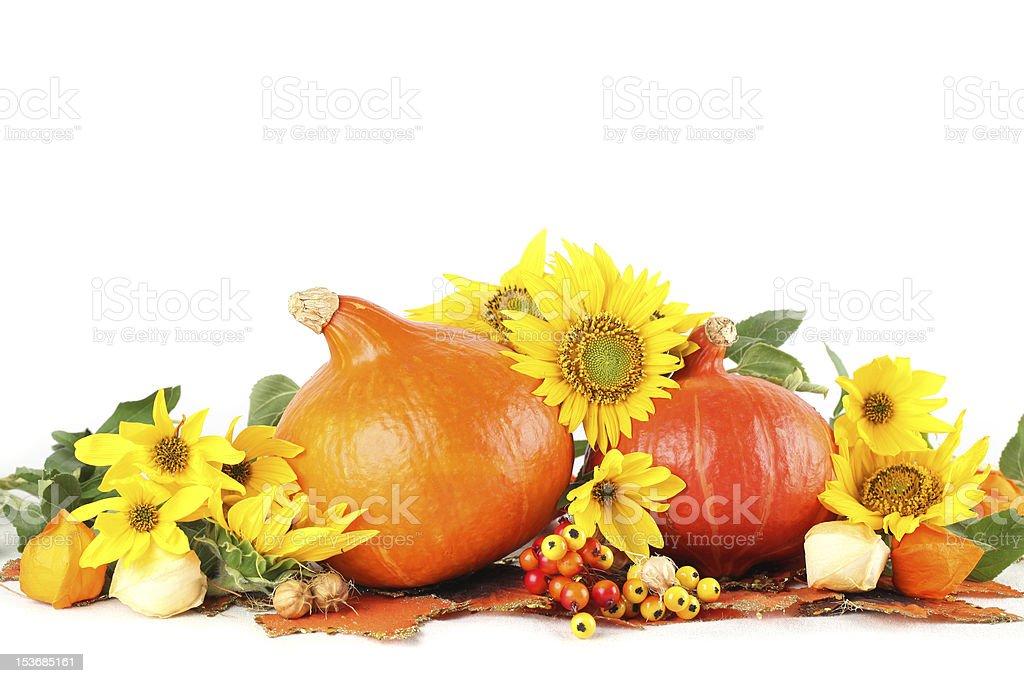 Autumn decoration with sunflowers and hokkaido pumpkins royalty-free stock photo