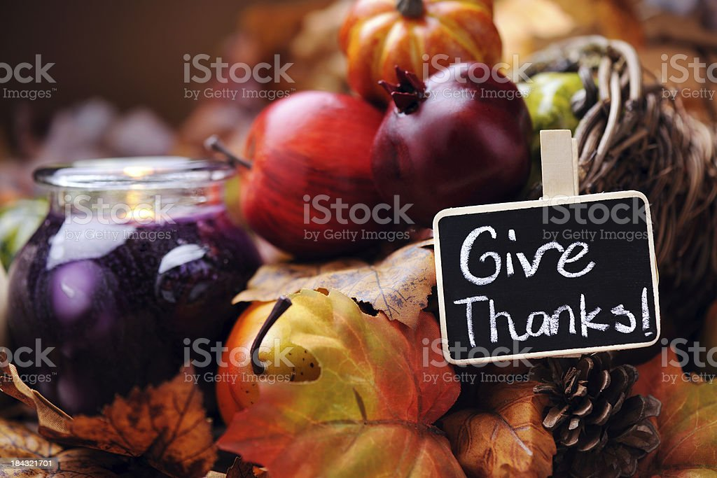 Autumn decoration with thanksgiving card stock photo