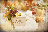 Autumn Dining Table Place Setting on Rustic Old Wood Table
