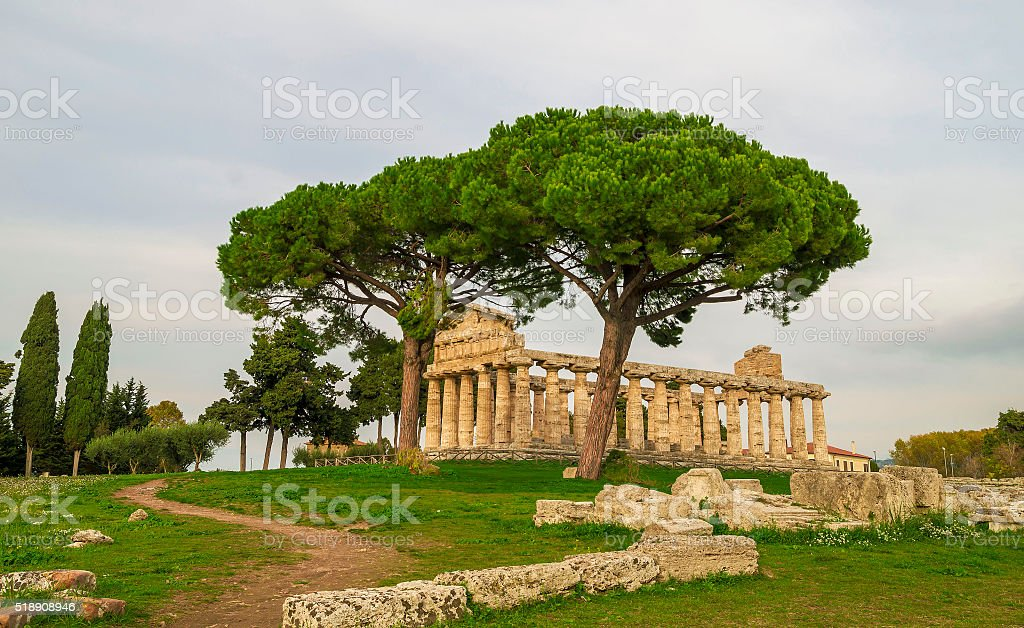 Autumn evening at Paestum ,Italy stock photo