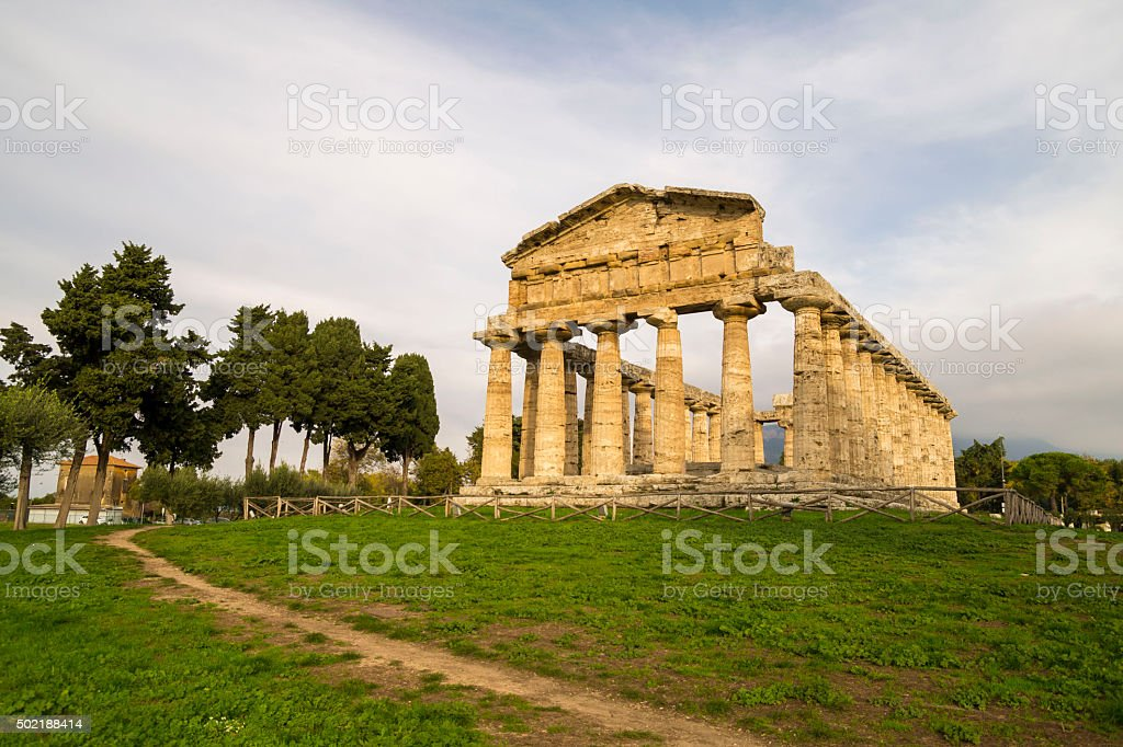 Autumn evening at Paestum - UNESCO World Heritage Site stock photo