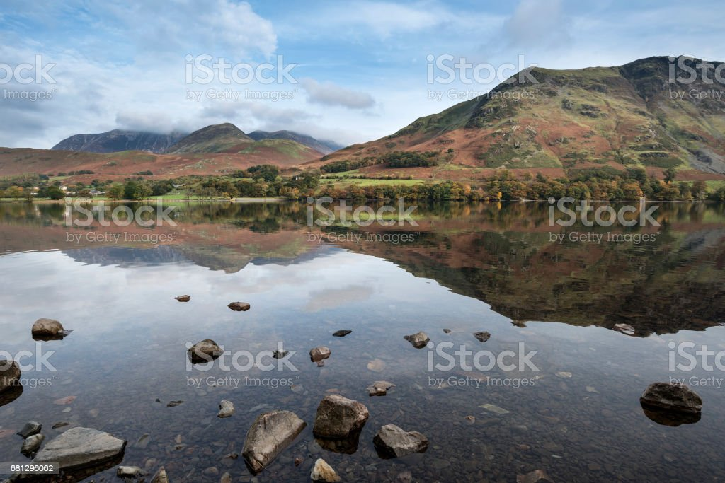 Autumn Fall landscape image of Lake Buttermere in Lake District stock photo