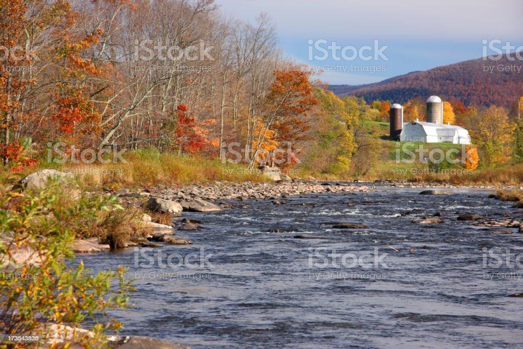 Autumn Farm By Creek royalty-free stock photo