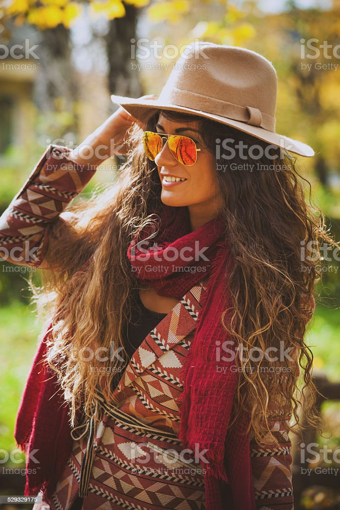 autumn fashion woman outdoor stock photo