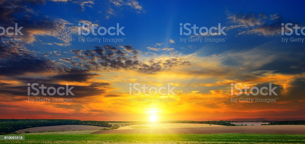 autumn field and evening sunset stock photo
