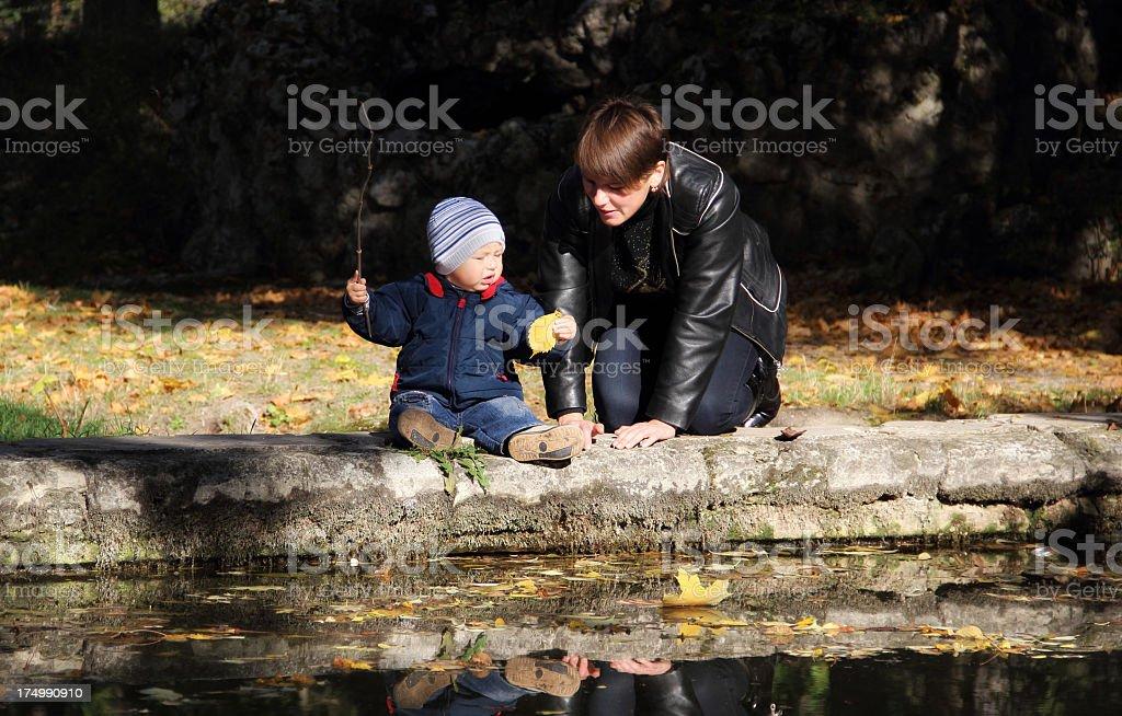 autumn fishing royalty-free stock photo