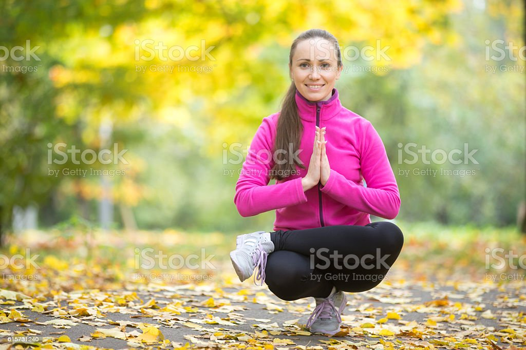 Autumn fitness: Toestand pose stock photo